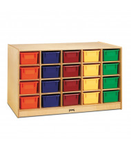 Jonti-Craft Double-Sided 40 Cubbie-Tray Island Classroom Storage Unit with Colored Trays (example of use)