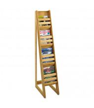 "Safco 57"" H 4-Compartment Bamboo Magazine/Pamphlet Floor Display, Natural"