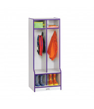 Jonti-Craft Rainbow Accents 2-Section Cubbie Coat Locker with Step - Shown in Purple