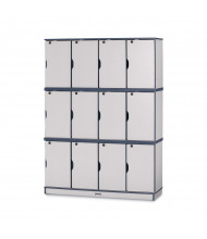 Jonti-Craft Rainbow Accents 12-Section Lockable School Locker - Shown in Navy