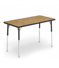 "Virco 48"" x 24"" Rectangular Classroom Activity Table (Medium Oak)"