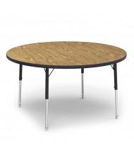 "Virco 48"" D Round Classroom Activity Table (medium oak)"