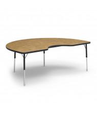 "Virco 72"" x 48"" Kidney Classroom Activity Table (medium oak)"