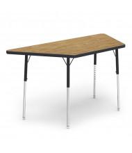 "Virco 60"" x 30"" Trapezoid Classroom Activity Table (medium oak)"