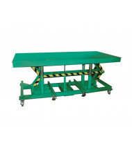 Lexco Long Deck 5000 lb Load 5 ft to 10 ft Hydraulic Manual Lift Tables with Load Stabilizer