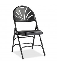 Samsonite 3000 Series Fanback Vinyl Folding Chair, Pack of 4 (Shown in Black)