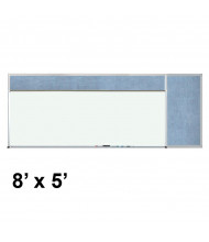 Best-Rite 508-4C-PM-X2 Style-D 8 ft. x 5 ft. Combo-Rite Tackboard and Porcelain Magnetic Combination Whiteboard (in pacific blue)