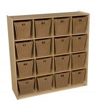 Wood Designs Childrens Classroom 16-Cubby Storage Unit with Medium Baskets