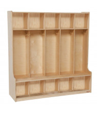 """Wood Designs 5-Section Classroom Coat Locker with Seat, Birch, 49"""" H x 48"""" W x 15"""" D"""