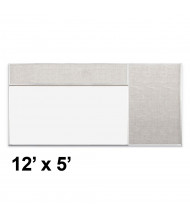 Best-Rite Style-D 12 x 5 Combo-Rite Tackboard and Porcelain Magnetic Combination Whiteboard (Shown in Sterling)