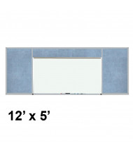 Best-Rite 512-9C-PM-X2 Style-H 12 ft. x 5 ft. Combo-Rite Tackboard and Porcelain Magnetic Combination Whiteboard (in pacific blue)