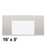 Best-Rite Style-H 16 x 5 Combo-Rite Tackboard and Porcelain Magnetic Combination Whiteboard (Shown in Sterling)