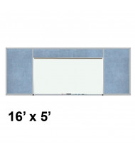 Best-Rite 516-9C-PM-X2 Style-H 16 ft. x 5 ft. Combo-Rite Tackboard and Porcelain Magnetic Combination Whiteboard (in pacific blue)