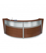 "OFM Marque 55312 124"" W U-Shaped Plexi Panel Curved Reception Desk (Shown in Cherry)"