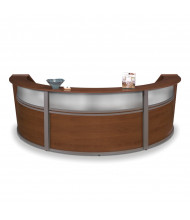 """OFM Marque 55313 143"""" W U-Shaped Plexi Panel Curved Reception Desk (Shown in Cherry)"""