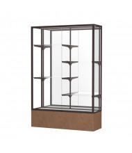 """Waddell Monarch 571 Series Lighted Floor Display Case 48""""W x 72""""H x 16""""D (mirror back/dark bronze/beige stone)"""