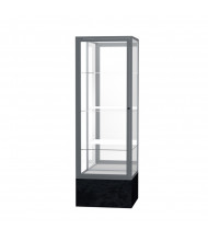 "Waddell Monarch 576 Series Floor Display Case 24""W x 72""H x 24""D (mirror back/satin/black marble)"