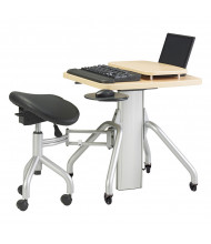 "RightAngle VerSIT 24"" x 24"" Laminate Adjustable Mobile Desk with Saddle Seat & Security Ready Laptop Mount"