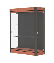 "Waddell Contempo Lighted Wall Display Case 36""W x 44""H x 14""D (Shown with Black Back and Cherry Base in Dk. Bronze Frame"