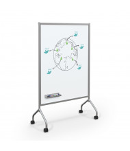 Best-Rite Essentials Painted Steel 3 ft. x 4.5 ft. Magnetic Mobile Whiteboard (Shown in Platinum)