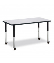 "Jonti-Craft Berries 48"" x 24"" Mobile Rectangle Classroom Activity Table (Shown in Grey / Black)"