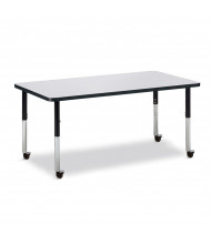"Jonti-Craft Berries 60"" x 30"" Mobile Rectangle Classroom Activity Table (Shown in Grey / Black)"