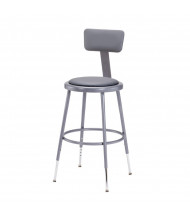 "NPS 19"" - 27"" Height Adjustable Padded Round Science Lab Stool, Backrest"