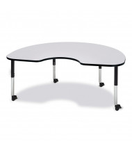 "Jonti-Craft Berries 72"" x 48"" Mobile Kidney Classroom Activity Table (Shown in Grey / Black)"
