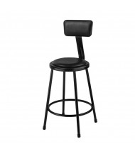 "NPS 24"" H Vinyl Padded Round Science Lab Stool, Backrest, Black"