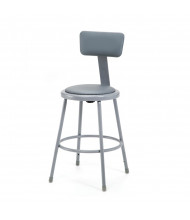 "NPS 24"" H Padded Round Science Lab Stool, Backrest"