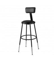 "NPS 25"" - 33"" Height Adjustable Vinyl Padded Science Lab Stool, Backrest, Black"