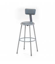 "NPS 30"" H Padded Round Science Lab Stool, Backrest"