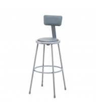 """NPS 30"""" H Padded Round Science Lab Stool, Backrest"""