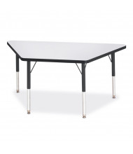 "Jonti-Craft Berries 60"" W x 30"" D Trapezoid-Shaped Elementary Classroom Activity Table (Shown in Grey/Black)"