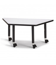 "Jonti-Craft Berries 48"" W x 24"" D Trapezoid-Shaped Mobile Classroom Activity Table (Shown in Grey/Black)"
