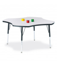 """Jonti-Craft Berries 48"""" D Four-Leaf-Shaped Elementary Classroom Activity Table (Shown in Grey/Black)"""