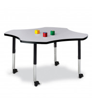 "Jonti-Craft Berries 48"" D Four-Leaf-Shaped Mobile Classroom Activity Table (Shown in Grey/Black)"