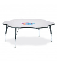 "Jonti-Craft Berries 60"" D Six-Leaf-Shaped Elementary Classroom Activity Table (Shown in Grey/Black)"