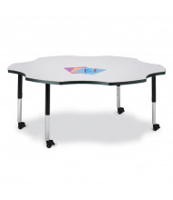 "Jonti-Craft Berries 60"" D Six-Leaf-Shaped Mobile Classroom Activity Table (Shown in Grey/Black)"