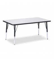 "Jonti-Craft Berries 48"" x 30"" Elementary Rectangle Classroom Activity Table (Shown in Grey / Black)"