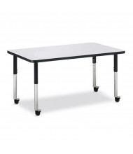 "Jonti-Craft Berries 48"" x 30"" Mobile Rectangle Classroom Activity Table (Shown in Grey / Black)"