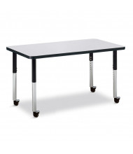 "Jonti-Craft Berries 36"" x 24"" Mobile Rectangle Classroom Activity Table (Shown in Grey / Black)"