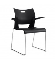 Global Duet 6620 Polypropylene Stacking Chair with Arms (Shown in Black)