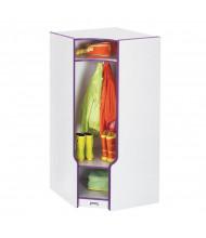 Jonti-Craft Rainbow Accents Corner Cubbie Coat Locker with Step (Shown in Purple)