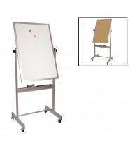 "Best-Rite 668AC-DC Porcelain Markerboard/Natural Cork 30"" x 40"" Aluminum Trim Reversible (Both Sides Shown)"