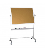 Best-Rite 668AF-CC Natural Cork 5 x 4 Aluminum Trim Reversible Mobile Bulletin Board