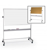 Best-Rite Dura-Rite/Natural Cork 6' x 4' Aluminum Trim Reversible Mobile Whiteboard