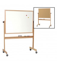 Best-Rite 668WG-DC Porcelain/Natural Cork 6 ft. x 4 ft. Light Oak Wood Frame Reversible Board (Both Sides Shown)