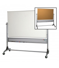 Best-Rite 669RG-HC Dura-Rite/Natural Cork 6 x 4 Aluminum Trim Reversible Mobile Whiteboard (Both Sides Shown)