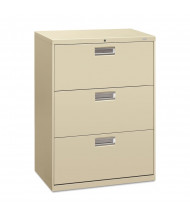 """HON Brigade 673LL 3-Drawer 30"""" Wide Lateral File Cabinet, Letter & Legal Size, Putty"""